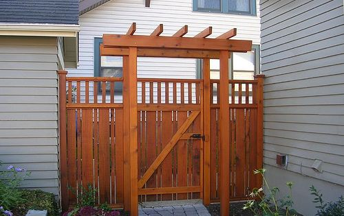 Craftsman style cedar fence trash can fence pinterest for Craftsman style fence