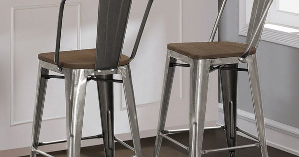 The Sleek Look Of These Classic Tabouret Bistro Stools Is Enhanced With The Gunmetal Finish And Solid Elm Wood Seat You Ll Love The Scrat Counter Height Stools Counter Stools Kitchen Stools