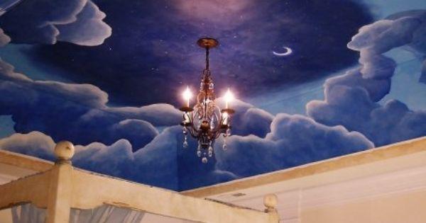 Cloud mural on ceiling by erjmurals dream home for Cloud mural ceiling