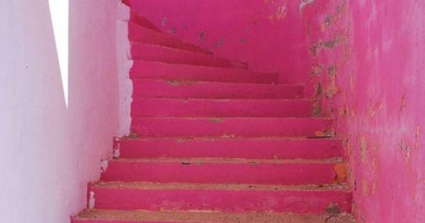 Bright pink stairway