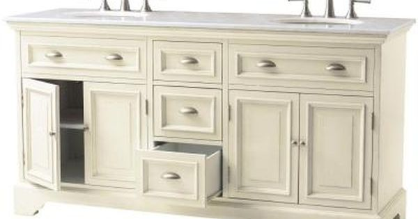 Home Decorators Collection Sadie 67 In Double Vanity In Antique Cream With Natural Marble