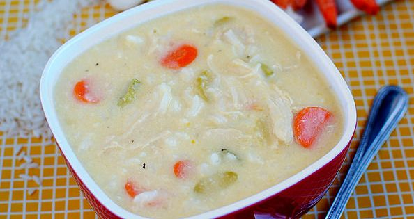 Cheesy Chicken Rice Soup is super creamy, but has no heavy cream!