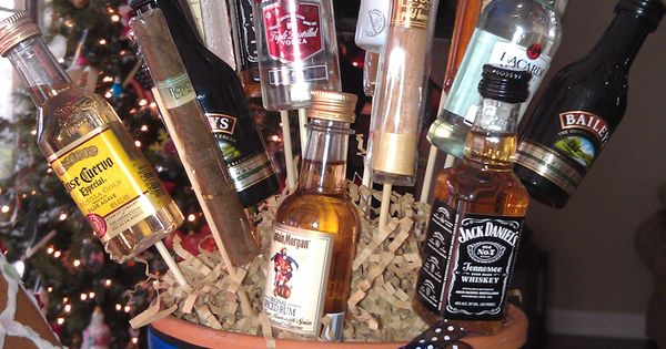 Man bouquet! Mini booze bottles and cigars. Great gift idea!