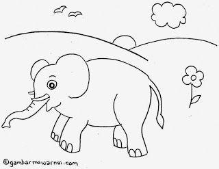 Kumpulan Gambar Hitam Putih Bw Untuk Diwarnai Warna Gambar Gajah