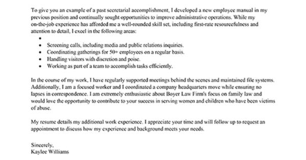 Receptionist Cover Letter Example - Executive L A D Y B O S S - first job no experience resume example