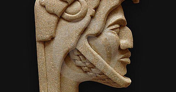 Stone head of warrior carving latin america … aztecs