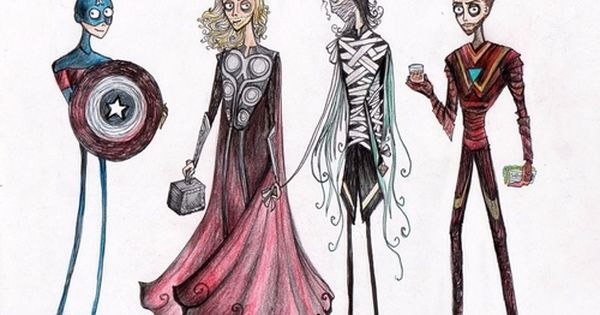 If Tim Burton drew The Avengers - C. America, Thor, Loki, &