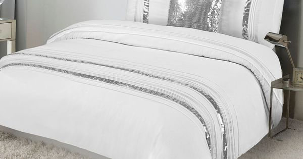 Tudisco Duvet Cover 4pcs Set White Silver Sequins Linings