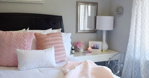create a romantic bedroom with bright whites and pale