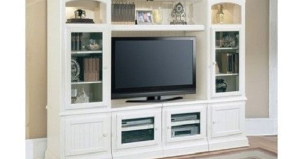 White Traditional Wall Unit TV Entertainment Center