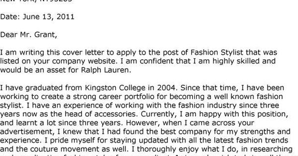 fashion stylist cover letter template job search pinterest