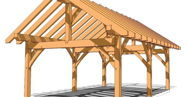 16x24 timber frame plan pavilion picnics and porch for Timber frame porch addition