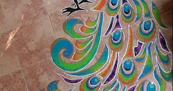 Diwali Rangoli Pinterest: Rangoli Designs With Peacock
