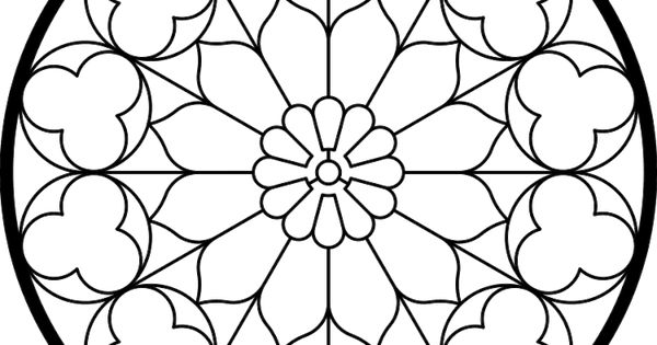 rose window pattern  coloring page or cutting template