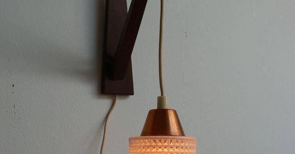 Mid Century Modern Wall Mounted Lights : 1950s Danish Modern Wood Swag Pendant Light /mid century Wall mounted Lamp. lighting ...