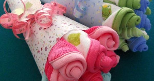 Cute Baby Shower Gift Idea ~ Washcloth Bouquets