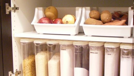 Kitchen organization. I wish I had the cabinet space for this!