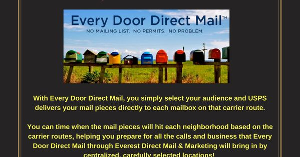 With Every Door Direct Mail You Simply Select Your Audience And Usps Delivers Your Mail Pieces Directly To Each M With Images Direct Mail Directions Direct Mail Marketing