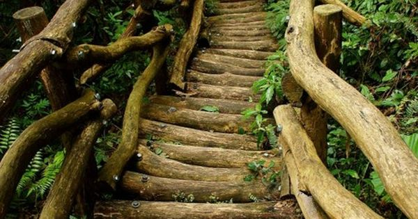 Rustic stairway. Love the look of logs for a pathway