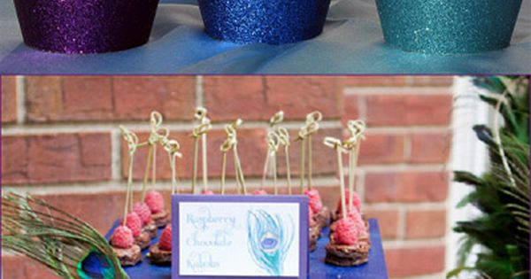 peacock Bridal Shower Themes | Peacock Wedding Reusable Glitter Cupcake Wrappers