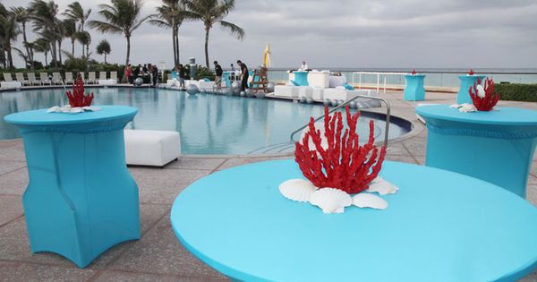the event team quickly changed the pedis by the pool decor to bright blue and deep coral for the evening cocktail party photo harvey bilt pinterest - Pool Decor