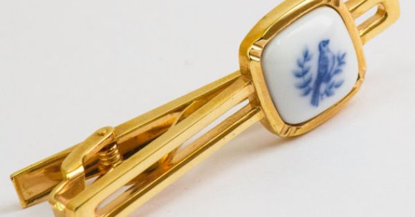 Vintage Tie Clip  Blue Bird on White Enamel Tie by CuffsandClips, $16.50