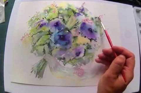 loose wet into wet watercolours flowing bouquet with