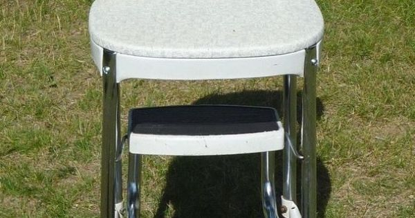 Vintage 50s Cosco Kitchen Gray Silver Step Stool Chair Mid
