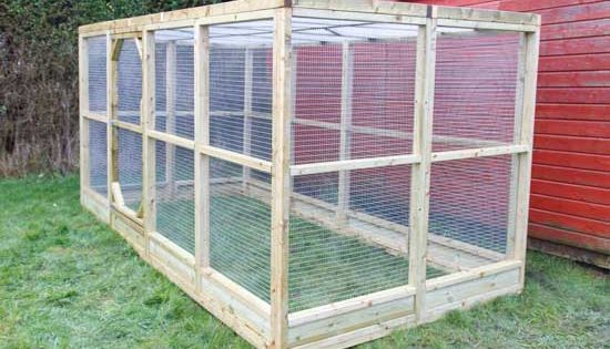 Large Chicken Run With Flat Mesh Roof 6x9 Basic Size