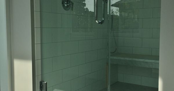 Master shower: 6x12 white subway tile with 6x12 carrara ...