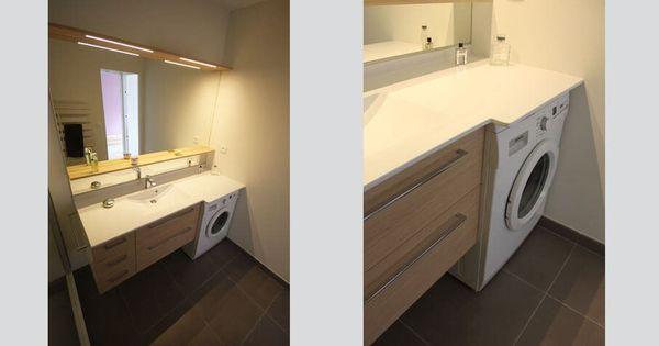 Meuble salle de bain contemporain avec lave linge int gr - Meuble pour cacher lave linge ...