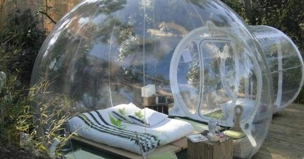 Enjoy the rainy days in the backyard inside this transparent tent house.