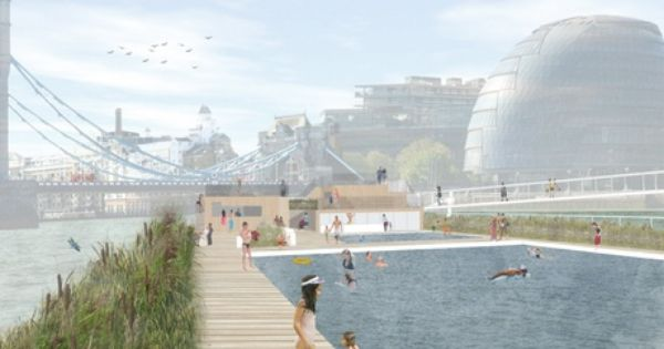 Thames Baths Lido Is A New Swimming And Cultural Destination For London On The River Thames Using Clean Filtered Urban Garden River Bath Public Architecture