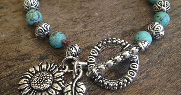 "Sunflower Love Hand Knotted Bracelet ""Beach Chic"" Turquoise, Bohemian Jewelry $28.00"