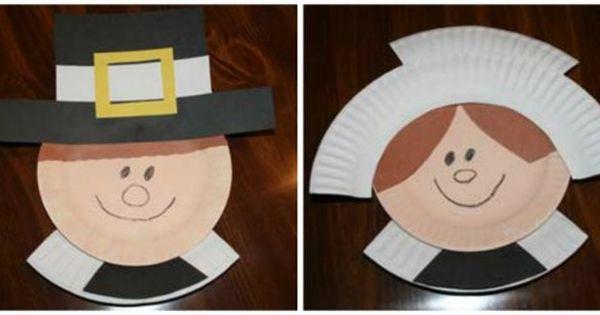 kids crafts Paper plate pilgrims
