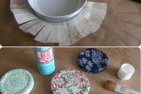 Cover jar lids using tissue paper and mod podge. Now I can
