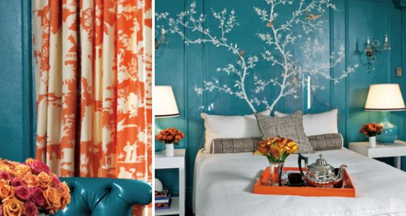 Bright Teal Walls with White Tree Mural as a Headboard