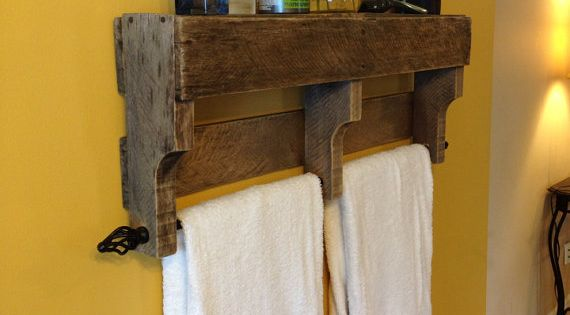 pallet bathroom towel bars.