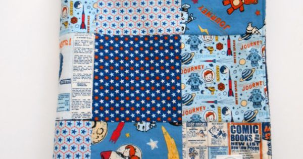 Minky baby boy patchwork quilt blanket riley blake rocket for Space minky fabric