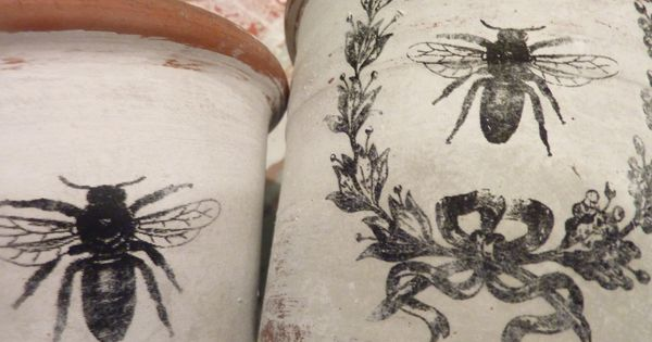 french flower pots with paper, paint, and mod podge