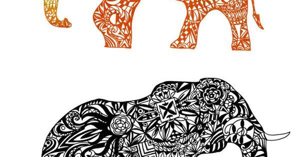 Zentangle Elephant Cut File Silhouette Clip Art Digital By