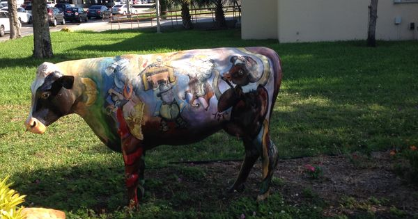 Painted Cow In Front Of Miami Lakes Florida Library