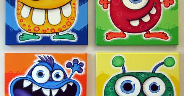bLUE eYED mONSTeRS - set of 4 12x12 original acrylic paintings for