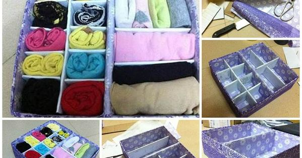 Diy easy cardboard drawer divider storage box for Cardboard drawers ikea
