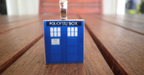 13th Doctor Who Tardis Scrabble Tile Pendant Sonic Screwdriver