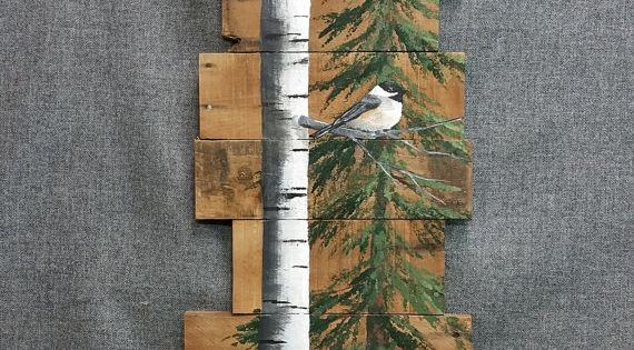 White Birch Amp Pine Tree Reclaimed Wood Pallet Art Tall