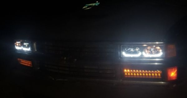Chevy Tahoe 1995 1999 Black Headlights U Shaped Led Drl Chevy Tahoe Chevy Trucks Chevy