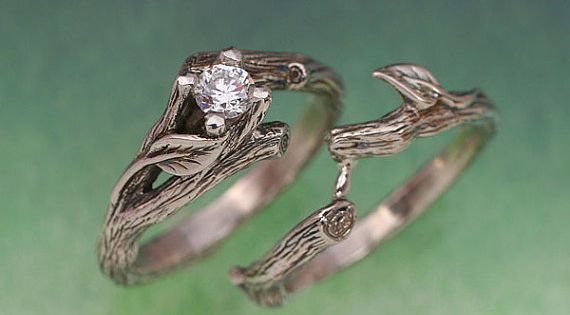 ACADIA WEDDING RING Set Engagement Ring Matching by BandScapes, $890.00... I very