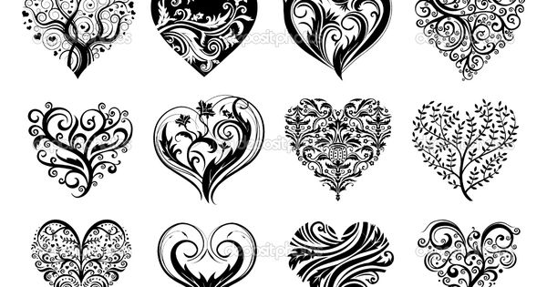 Small Heart Tattoo Designs | 12 Tattoo hearts - Stock Illustration