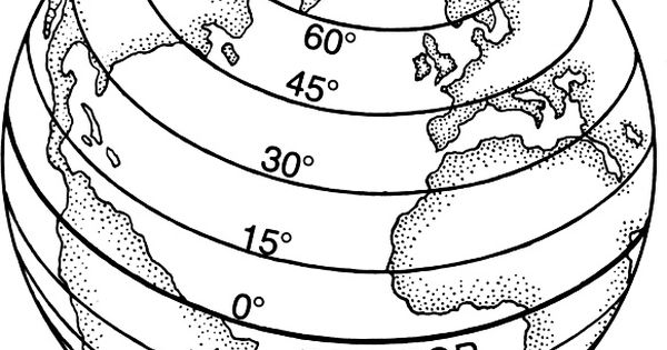 Latitude Lines World Map Coloring Page